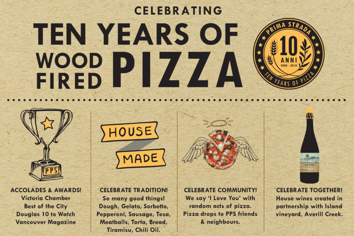 10 years, prima strada, pizza, pizzeria, Victoria, yyj food, restaurant